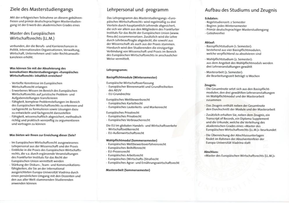 LLM2 - Masterstudiengang Europäisches Wirtschaftsrecht - LLM - Master an der Europa Universität Viadrina