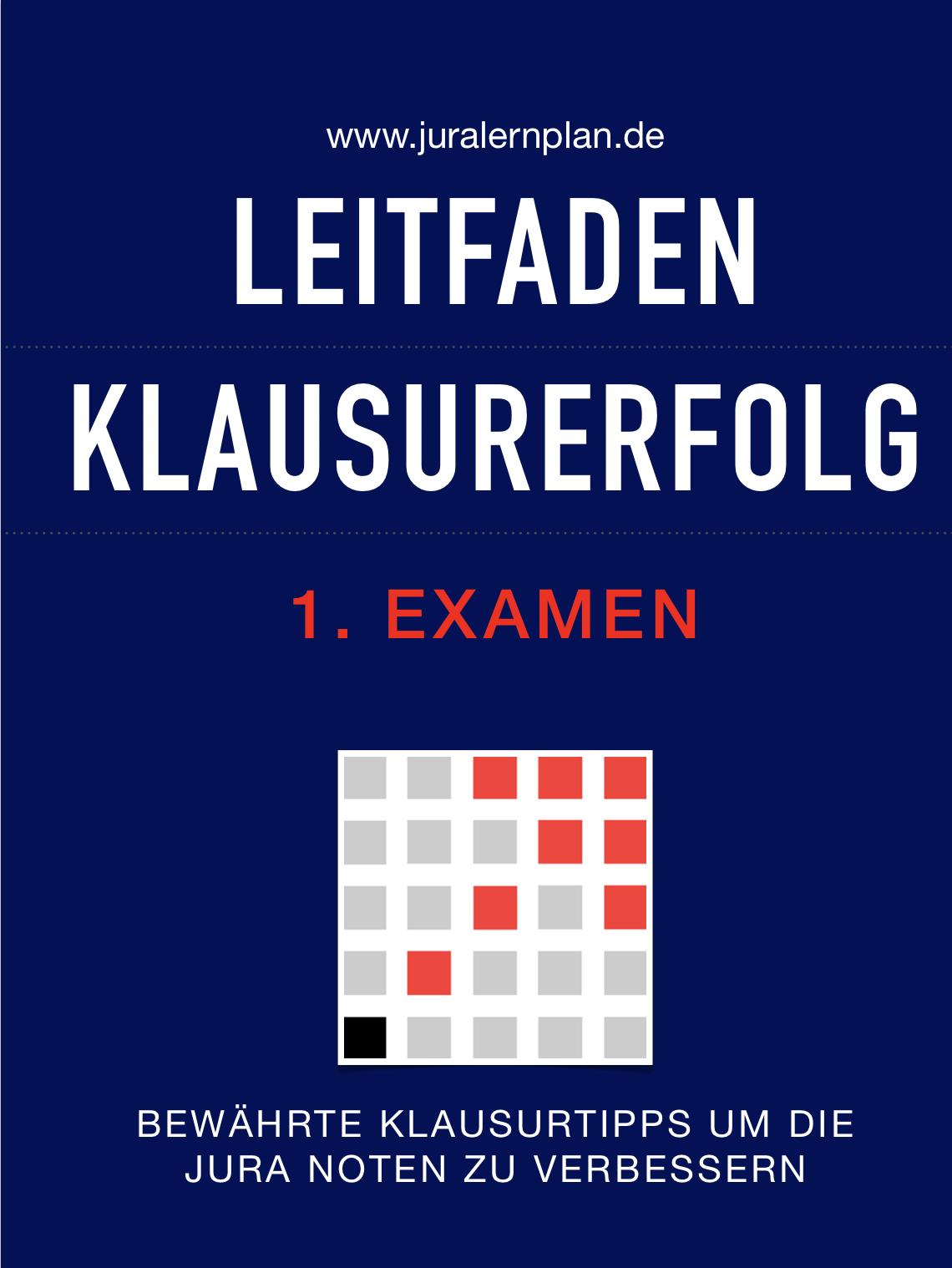 Leitfaden Klausurerfolg 1. Examen - JURALERNPLAN Jura Lernplan Studium Examen